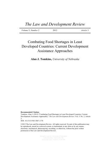 Combating Food Shortages in Least Developed Countries: Current ...