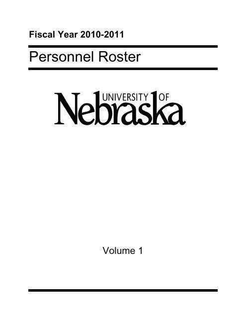 Personnel Roster - University of Nebraska