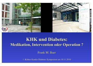 KHK und Diabetes: Medikation, Intervention oder Operation?