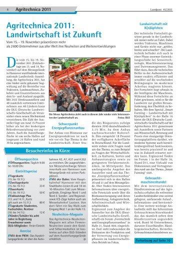 Agritechnica 2011: Landwirtschaft ist Zukunft - Dr. Neinhaus Verlag AG