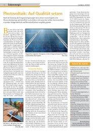 Photovoltaik: Auf Qualität setzen - Dr. Neinhaus Verlag AG