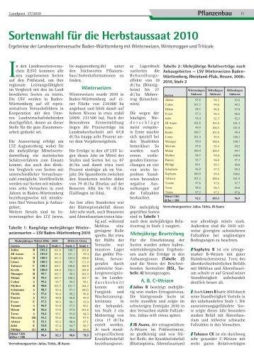 Sortenwahl für die Herbstaussaat 2010 - Dr. Neinhaus Verlag AG