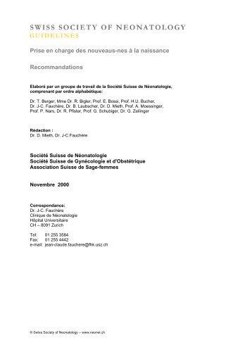 Prise en charge des nouveaus-nes à la - Swiss Society of ...