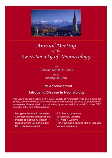 Annual Meeting Swiss Society of Neonatology