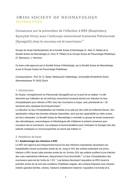 Consensus sur la prévention de l'infection à RSV (Respiratory ...