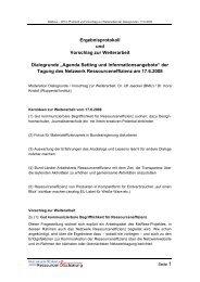Protokoll der Dialogrunden - Netzwerk Ressourceneffizienz