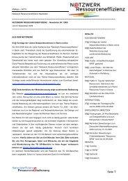 Newsletter 4/2009 - Netzwerk Ressourceneffizienz
