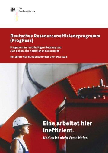 Deutsches Ressourceneffizienzprogramm (ProgRess) - BMU