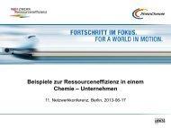 Beispiele zur Ressourceneffizienz in einem Chemie – Unternehmen