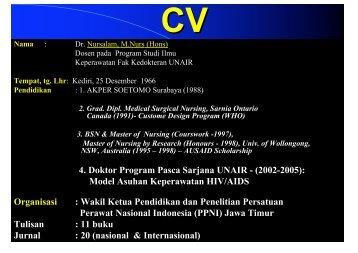 CV - Fakultas Keperawatan - Unair