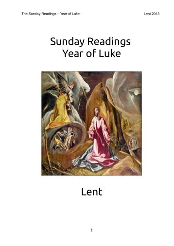 Sunday Readings Year of Luke Lent - Clear Net
