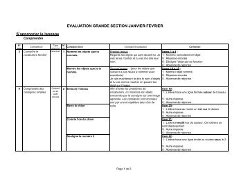 EVALUATION GRANDE SECTION JANVIER-FEVRIER S'approprier le