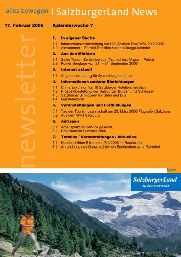 17. Februar 2006 Kalenderwoche 7 - SalzburgerLand Netoffice
