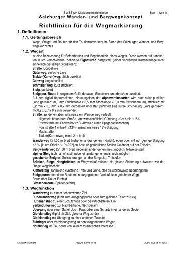 Richtlinien für die Wegmarkierung - SalzburgerLand Netoffice