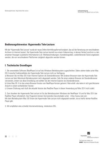 Bedienungshinweise: Hypermedia Tele-Lecture - Netzspannung