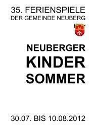 Programm Neuberger Kindersommer 2012 - Gemeinde Neuberg