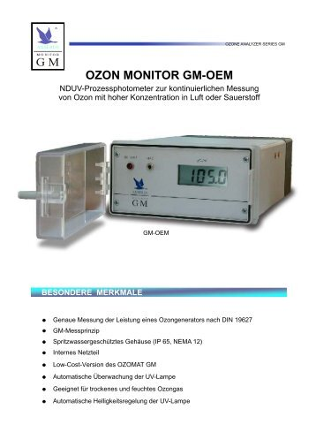 OZON MONITOR GM-OEM BESONDERE MERKMALE - Anseros