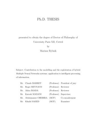 Phd thesis on neural networks