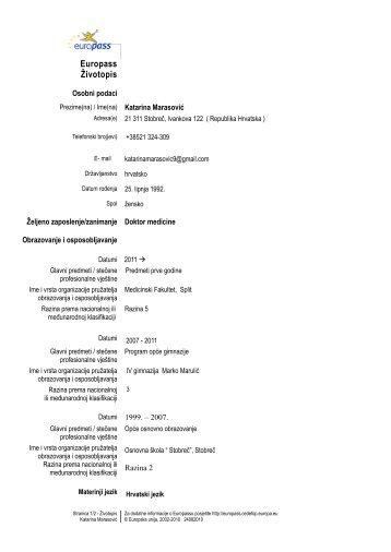 Europass-Curriculum Vitae - Medicinski fakultet