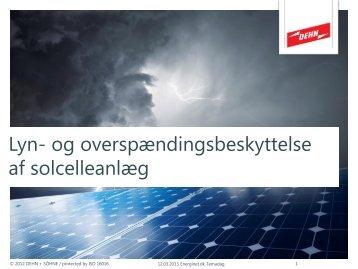 Lyn- og overspændingsbeskyttelse af solcelleanlæg - Energinet.dk