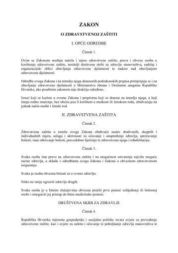 Zakon o zdravstvenoj zaštiti - Medicinski fakultet