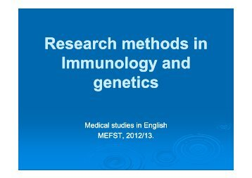 Research methods in methods in Immunology and genetics