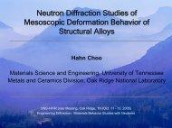 Neutron Diffraction Studies of Mesoscopic Deformation Behavior of ...