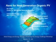 Nano for Next Generation Organic PV - Oak Ridge National Laboratory