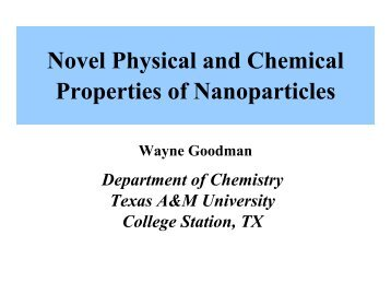 Novel Physical and Chemical Properties of Nanoparticles