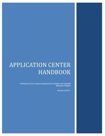 Application Center Handbook - Louisiana Department of Health and ...
