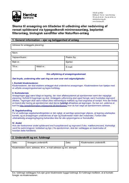 Skema til ansøgning om tilladelse til udledning eller nedsivning af ...