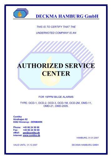 AUTHORIZED SERVICE CENTER - Contika