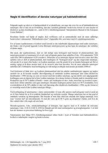 Nøgle til identifikation af danske naturtyper på habitatdirektivet