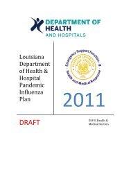 Louisiana Department of Health & Hospital Pandemic Influenza Plan