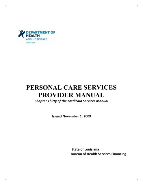 Personal care services provider manual - Louisiana Department of ...