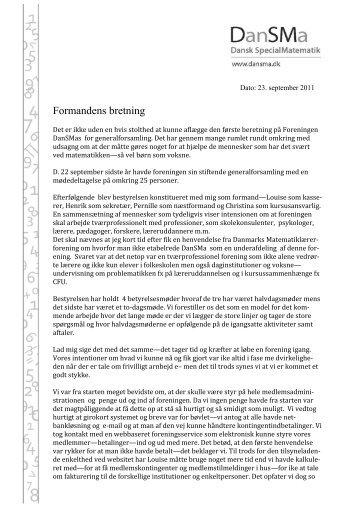 Formandens beretning september 2011 (PDF) - DanSma