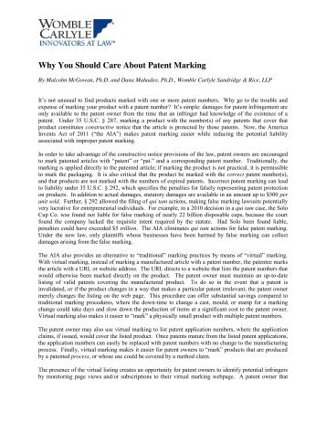 Why You Should Care About Patent Marking - ACC News