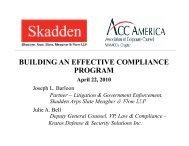 BUILDING AN EFFECTIVE COMPLIANCE PROGRAM - ACC News