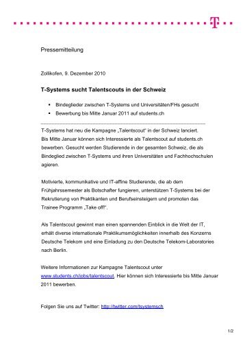 Pressemitteilung T-Systems sucht Talentscouts in der Schweiz