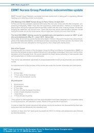 EBMT Nurses Group Paediatric subcommittee update - European ...