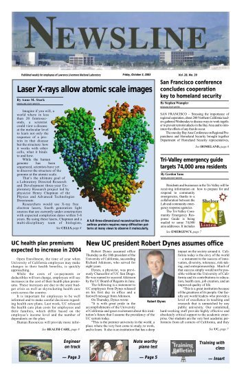 Laser X-rays allow atomic scale images - NEWSLINE - Lawrence ...