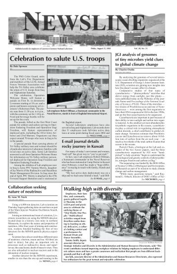 Celebration to salute U.S. troops - NEWSLINE - Lawrence Livermore ...
