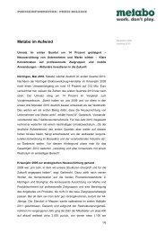 Metabo PI Rueck- und Ausblick 2009-2010 - Newsroom - Metabo