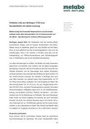 Metabo PI Geradschleifer - Newsroom - Metabo
