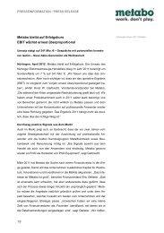 Metabo PI Jahresabschluss - Newsroom - Metabo