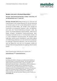 Metabo PI Hornbach-Ausstieg - Newsroom - Metabo