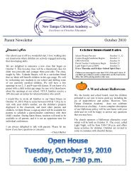 Parent Newsletter October 2010 - New Tampa Christian Academy