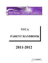 NTCA PARENT HANDBOOK - New Tampa Christian Academy