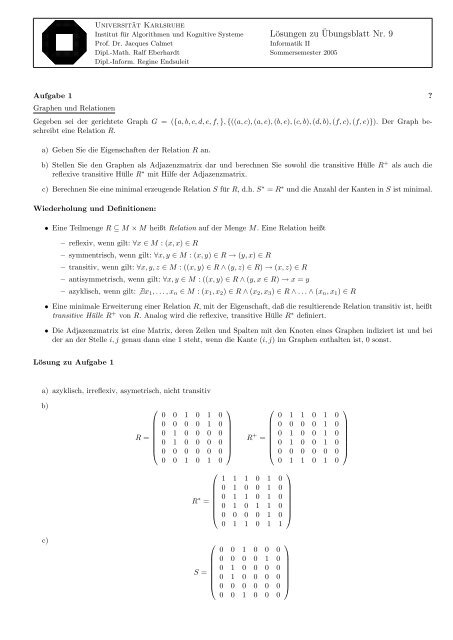 Lösungen zu ¨Ubungsblatt Nr. 9 - next-internet.com