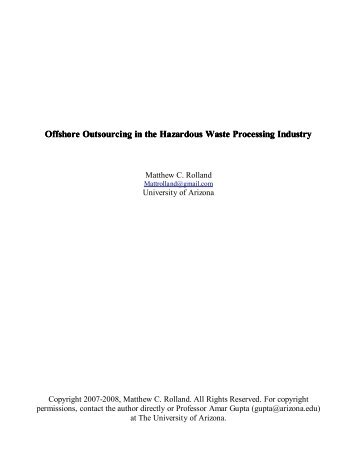 Offshore Outsourcing in the Hazardous Waste Processing Industry